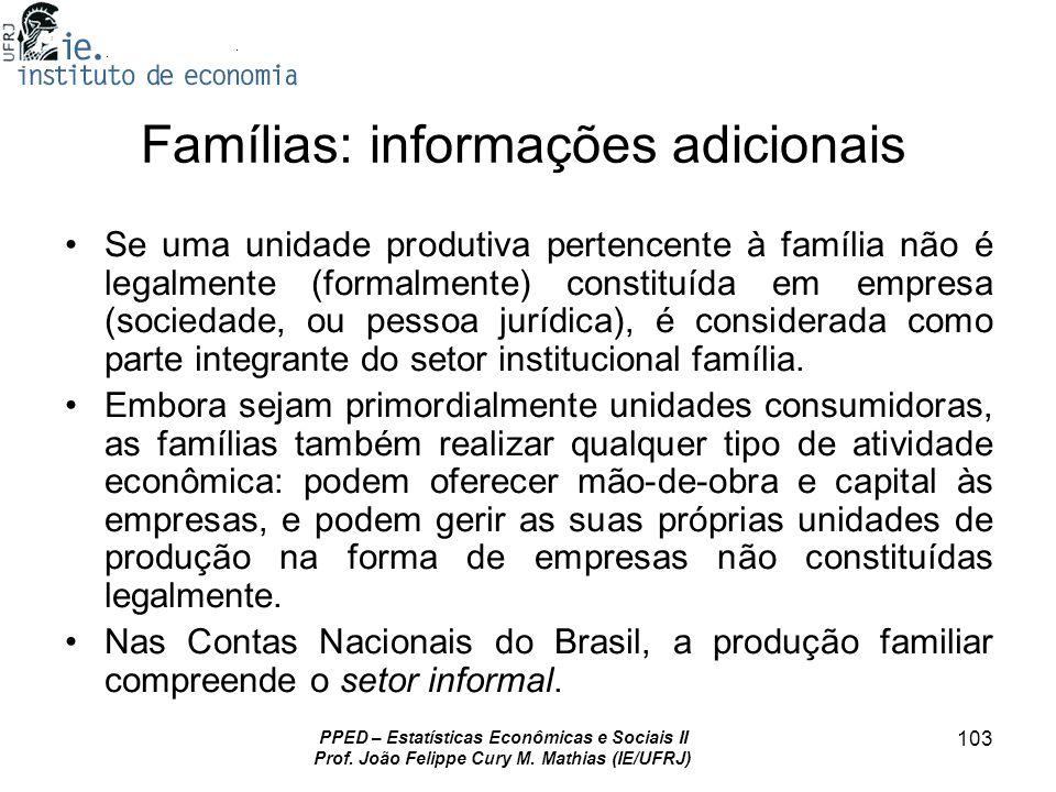 Famílias: informações adicionais