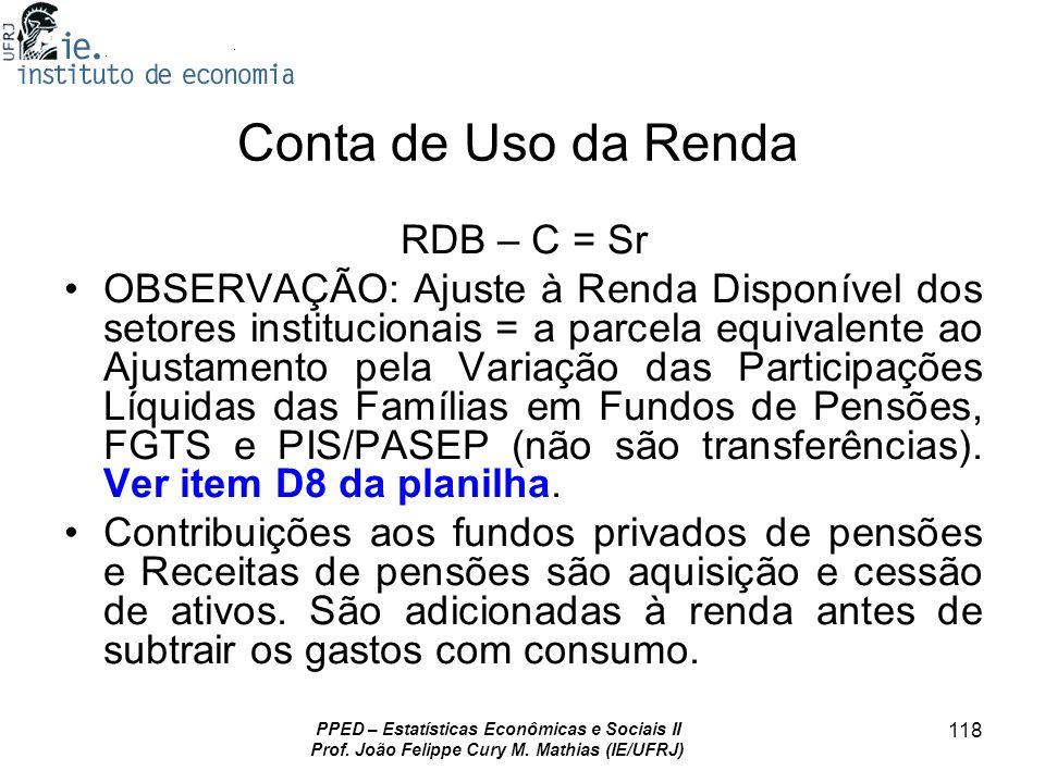 Conta de Uso da Renda RDB – C = Sr