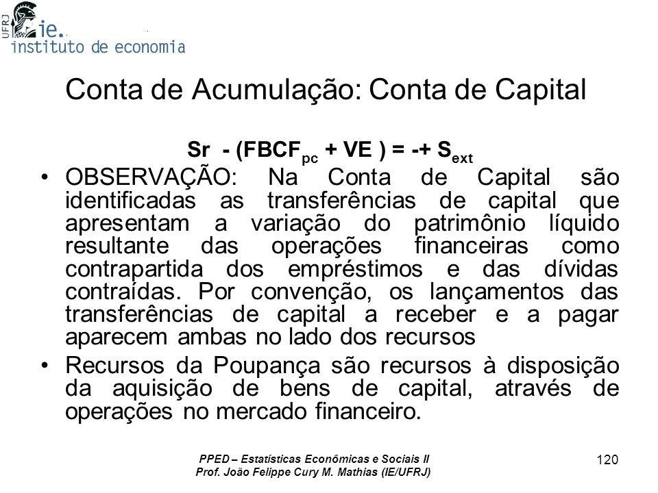 Conta de Acumulação: Conta de Capital