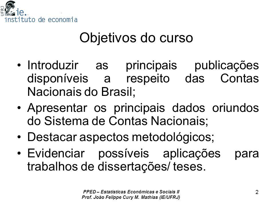 Objetivos do cursoIntroduzir as principais publicações disponíveis a respeito das Contas Nacionais do Brasil;