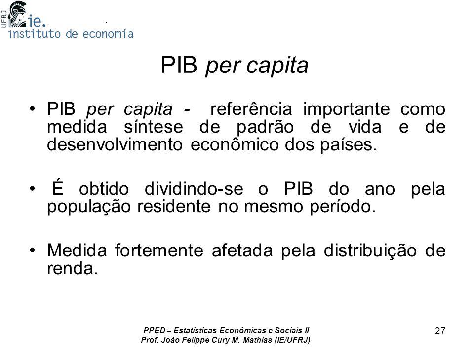 PIB per capita PIB per capita - referência importante como medida síntese de padrão de vida e de desenvolvimento econômico dos países.