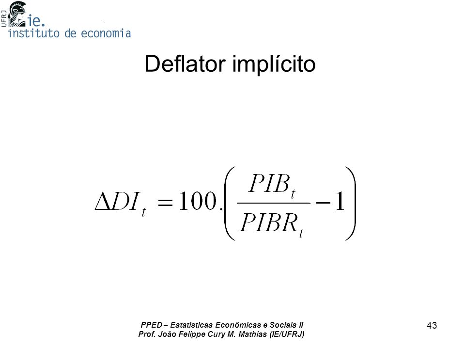 Deflator implícito PPED – Estatísticas Econômicas e Sociais II