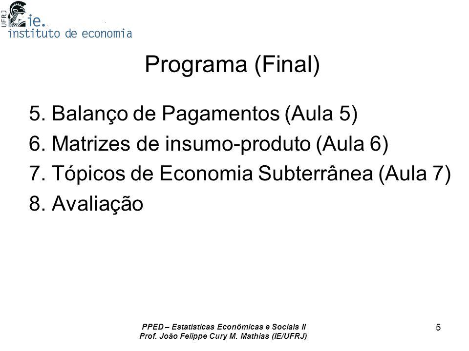 Programa (Final) 5. Balanço de Pagamentos (Aula 5)