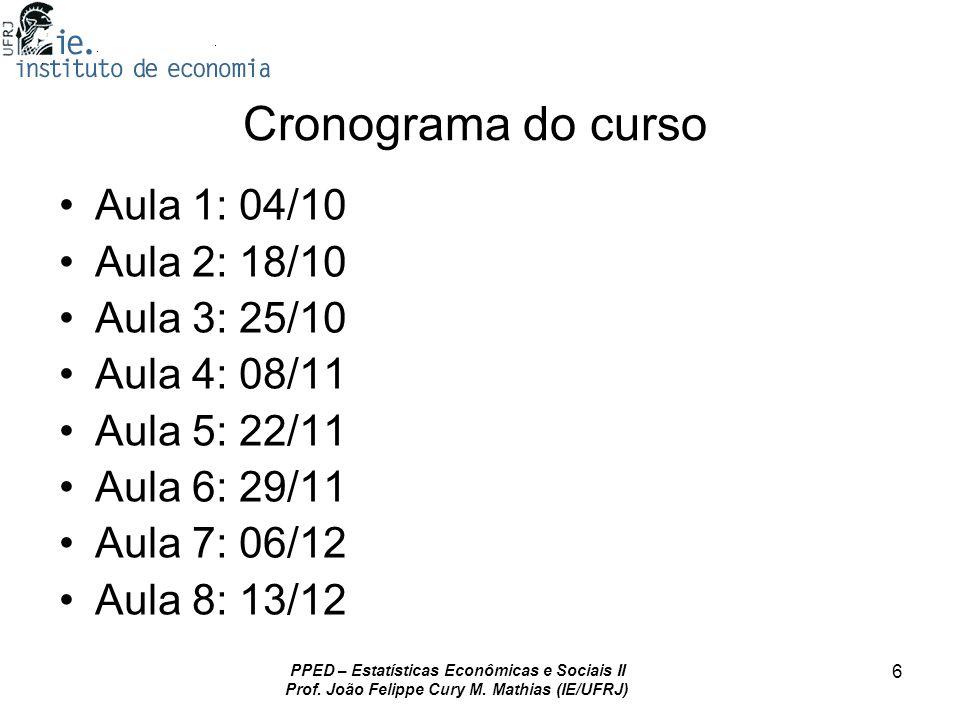 Cronograma do curso Aula 1: 04/10 Aula 2: 18/10 Aula 3: 25/10