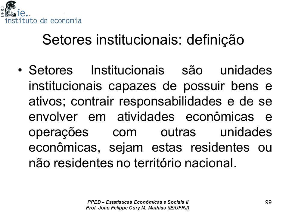 Setores institucionais: definição