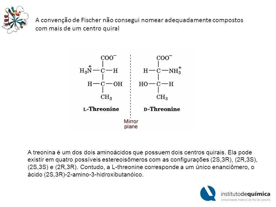 A convenção de Fischer não consegui nomear adequadamente compostos com mais de um centro quiral