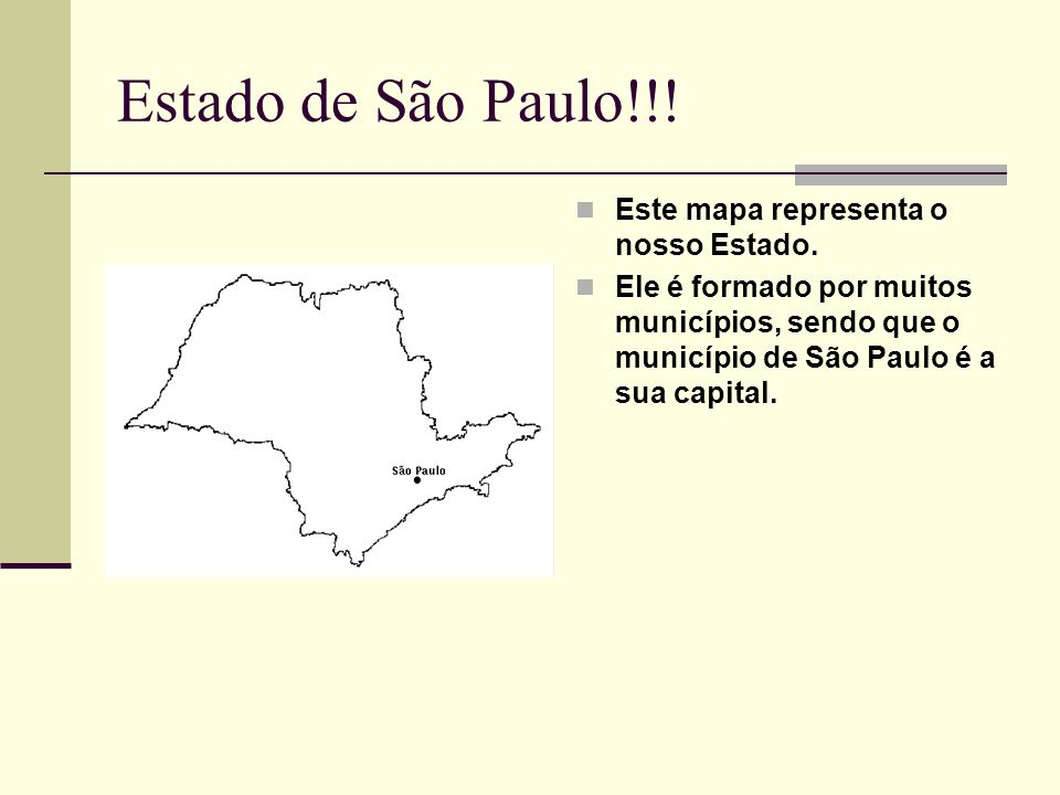 Estado de São Paulo!!! Este mapa representa o nosso Estado.