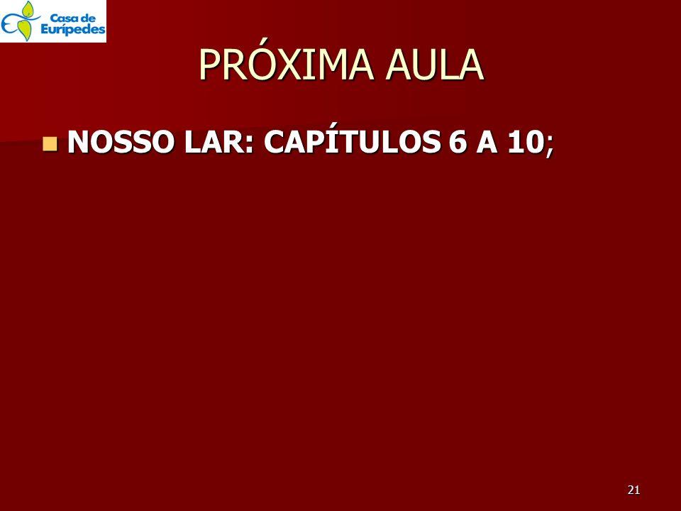 PRÓXIMA AULA NOSSO LAR: CAPÍTULOS 6 A 10;