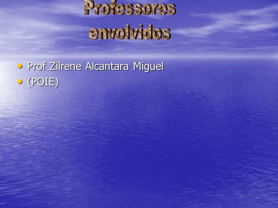 Professores envolvidos Prof Zilrene Alcantara Miguel (POIE)