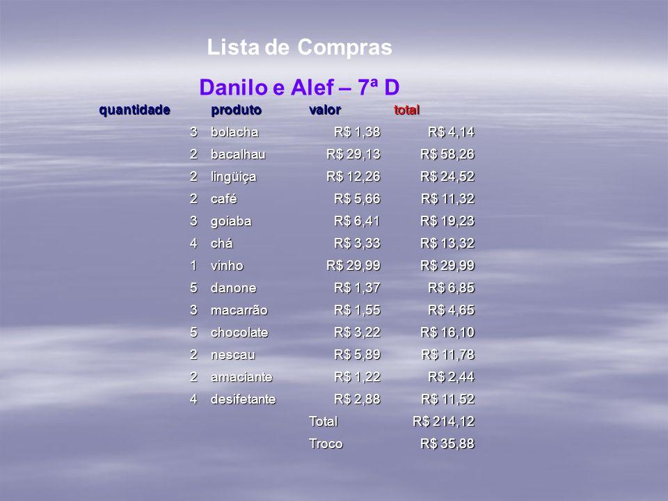 Lista de Compras Danilo e Alef – 7ª D
