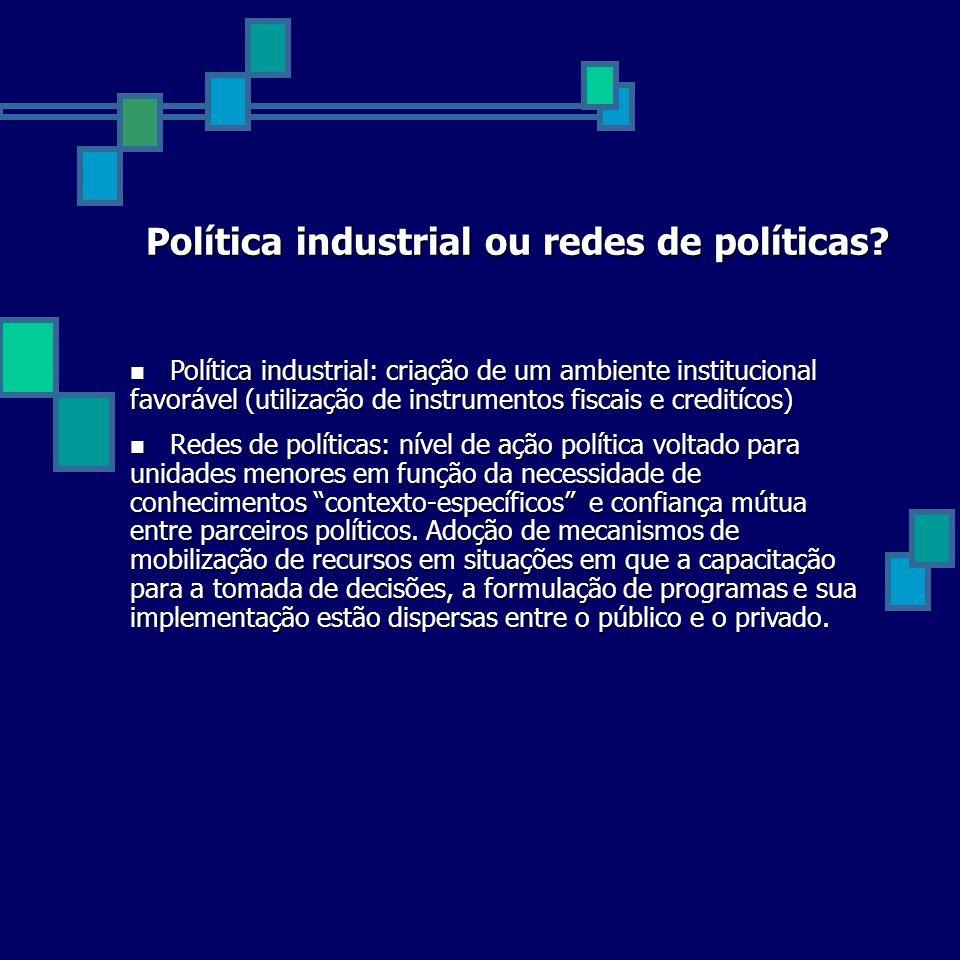 Política industrial ou redes de políticas