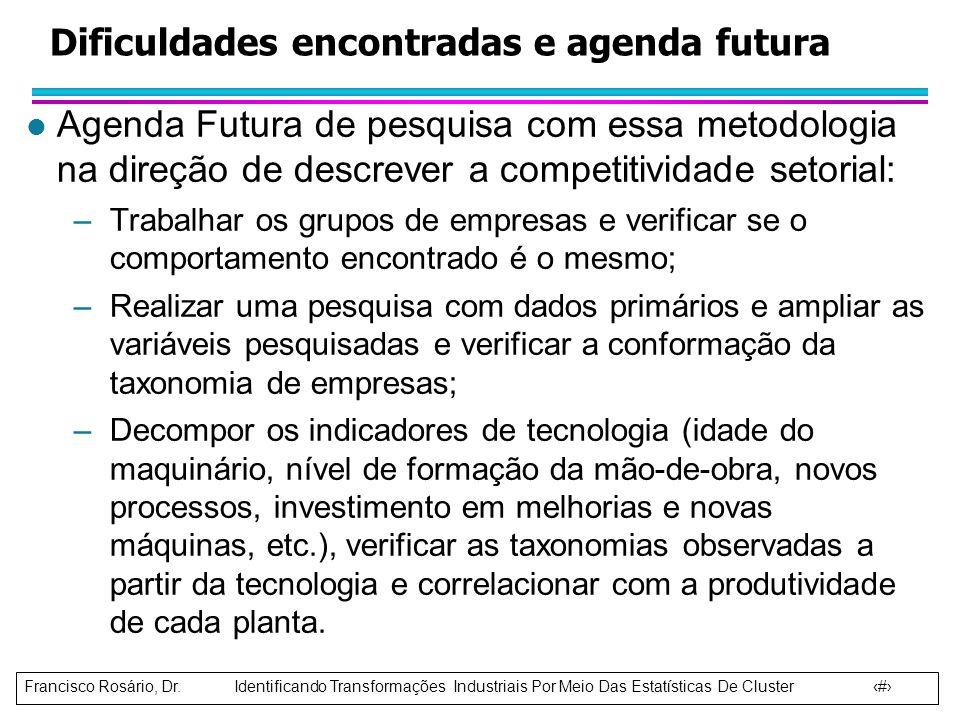 Dificuldades encontradas e agenda futura