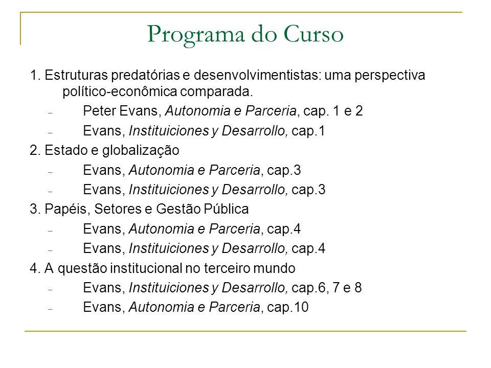 Programa do Curso 1. Estruturas predatórias e desenvolvimentistas: uma perspectiva político-econômica comparada.