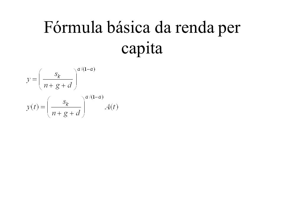 Fórmula básica da renda per capita