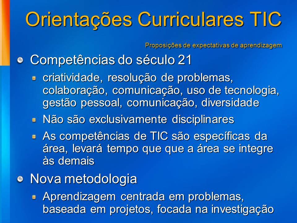 Orientações Curriculares TIC Proposições de expectativas de aprendizagem