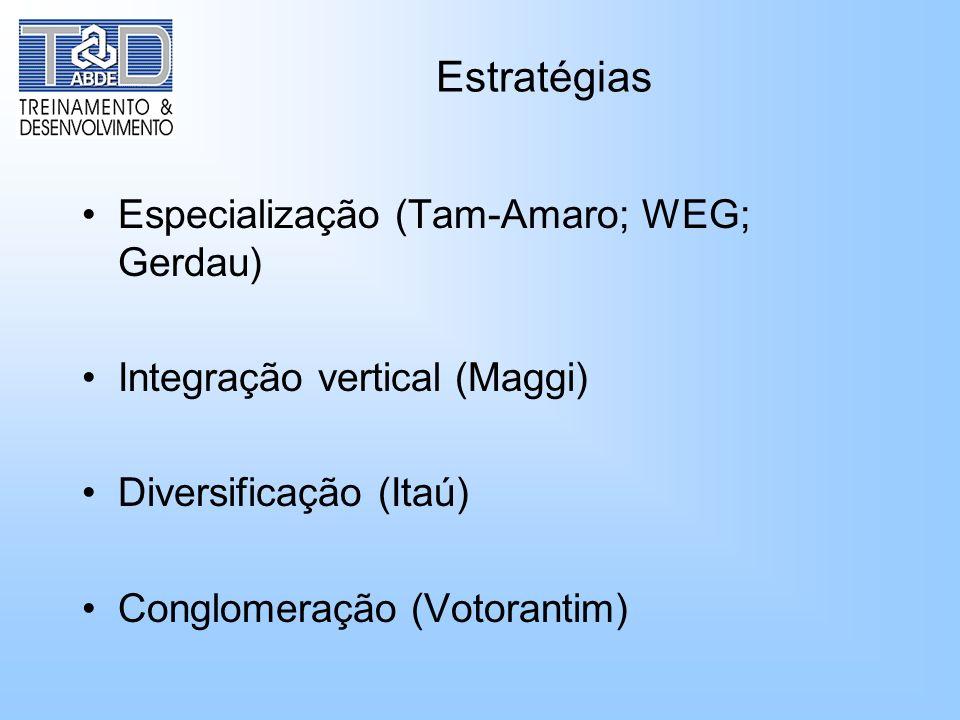 Estratégias Especialização (Tam-Amaro; WEG; Gerdau)