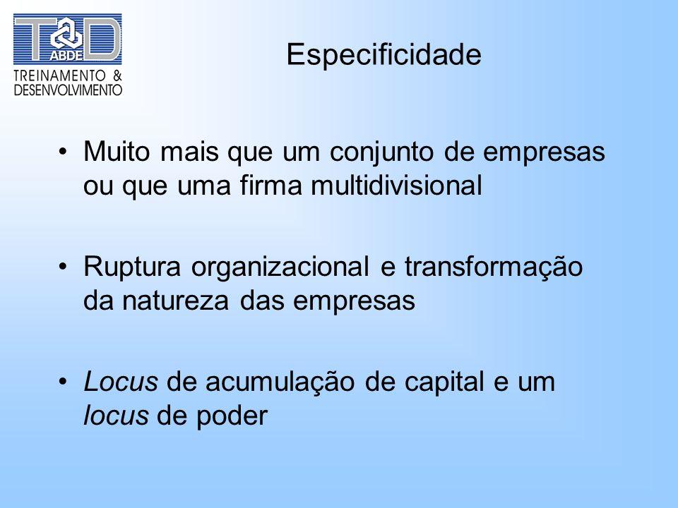 EspecificidadeMuito mais que um conjunto de empresas ou que uma firma multidivisional.
