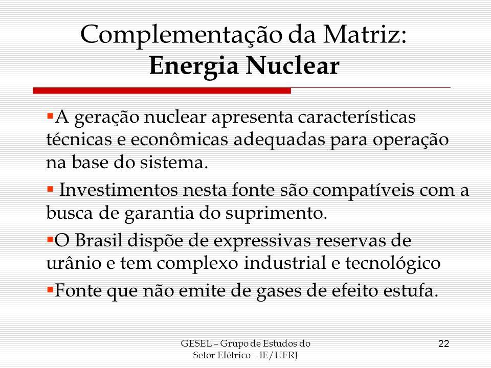 Complementação da Matriz: Energia Nuclear