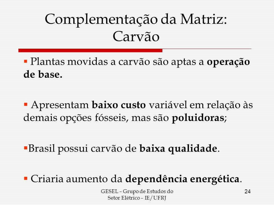 Complementação da Matriz: Carvão