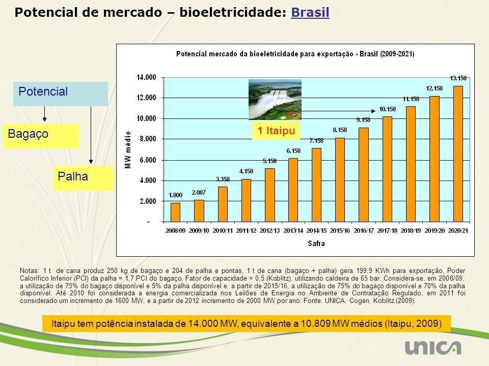 Potencial de mercado – bioeletricidade: Brasil