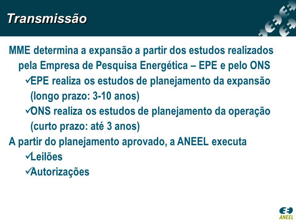TransmissãoMME determina a expansão a partir dos estudos realizados pela Empresa de Pesquisa Energética – EPE e pelo ONS.