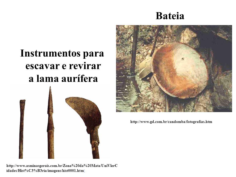 Bateia Instrumentos para escavar e revirar a lama aurífera