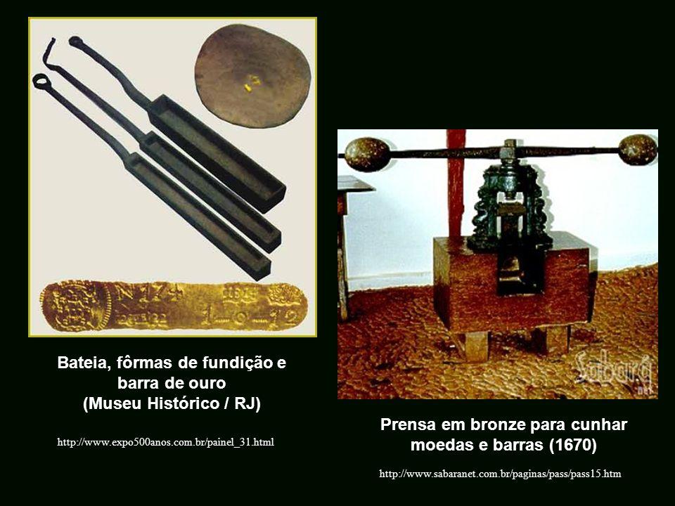 Bateia, fôrmas de fundição e barra de ouro (Museu Histórico / RJ)