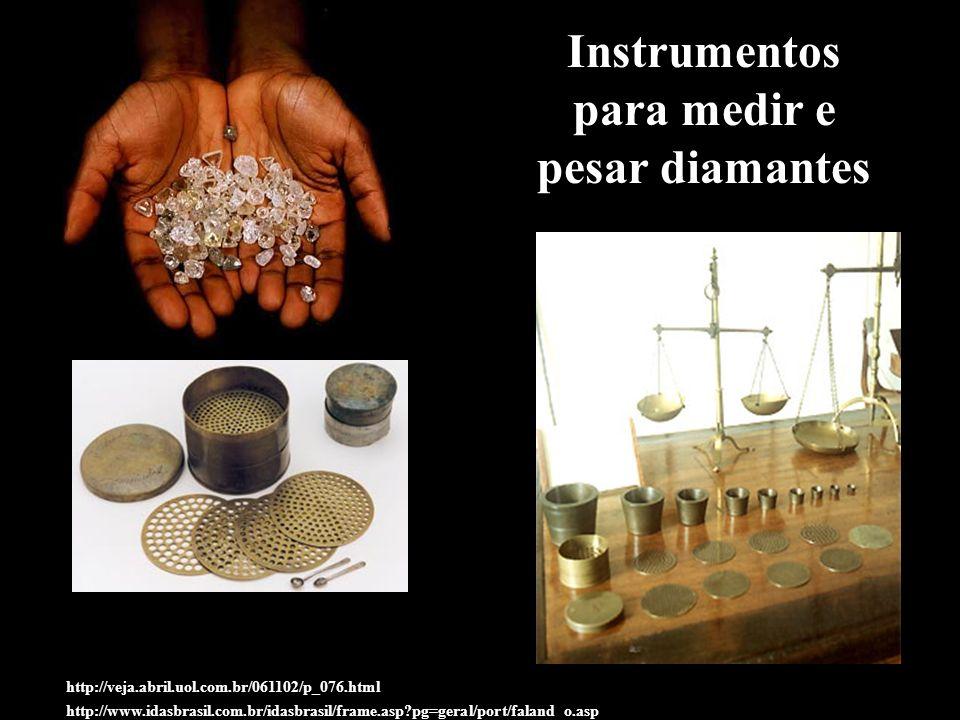 Instrumentos para medir e pesar diamantes