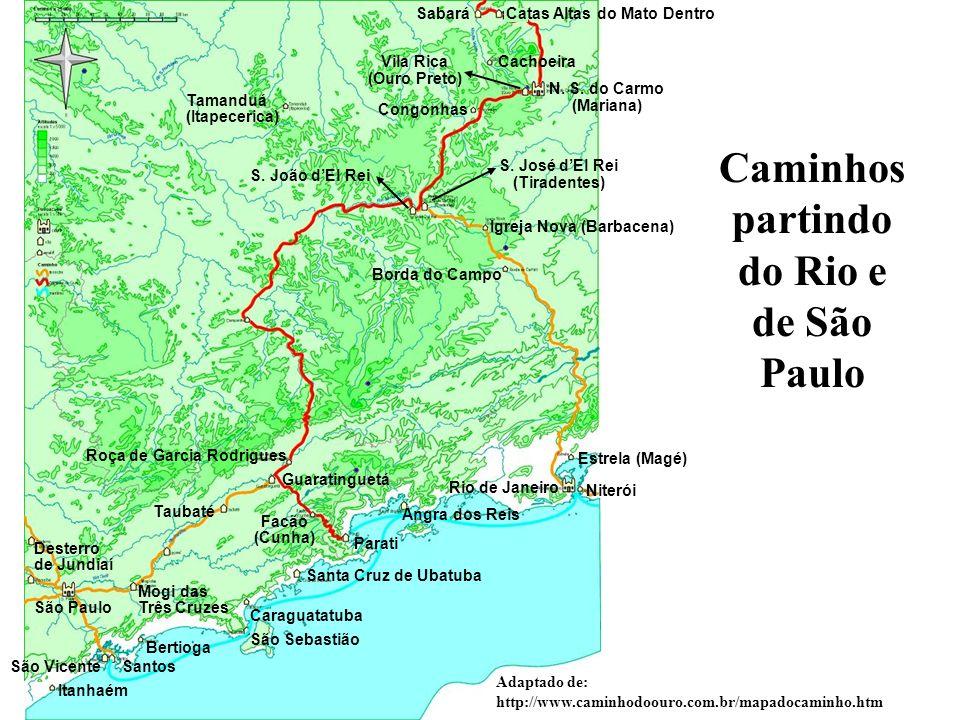 Caminhos partindo do Rio e de São Paulo
