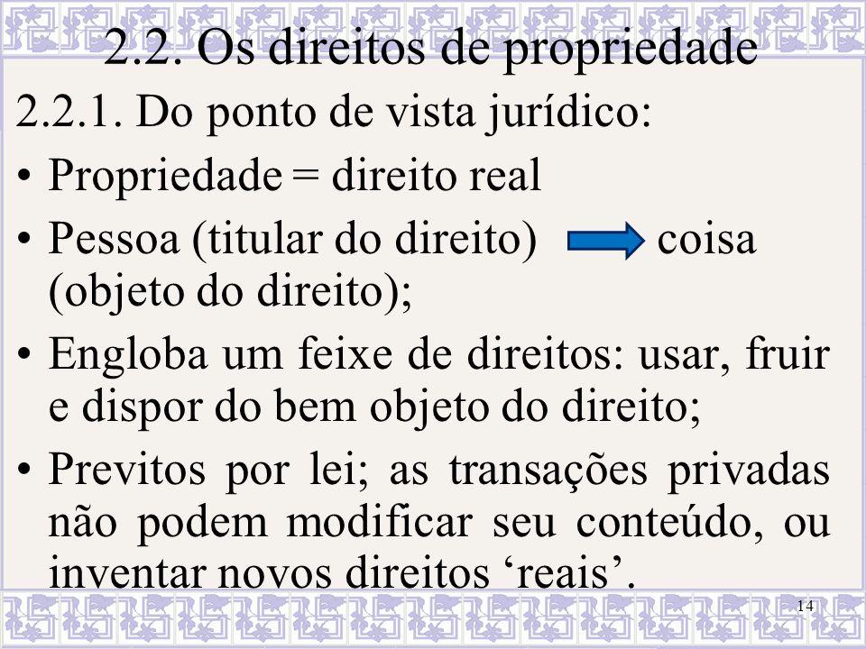 2.2. Os direitos de propriedade