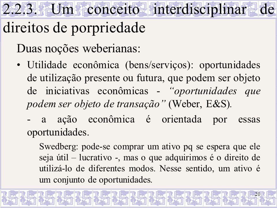 2.2.3. Um conceito interdisciplinar de direitos de porpriedade