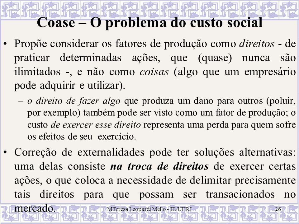 Coase – O problema do custo social