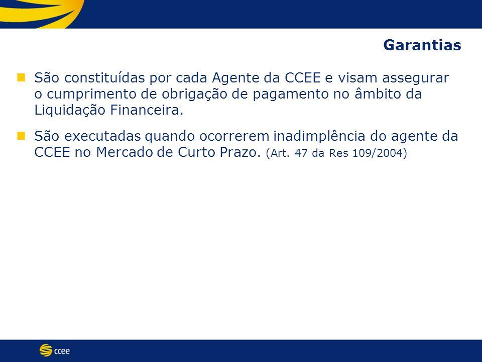 Garantias São constituídas por cada Agente da CCEE e visam assegurar o cumprimento de obrigação de pagamento no âmbito da Liquidação Financeira.