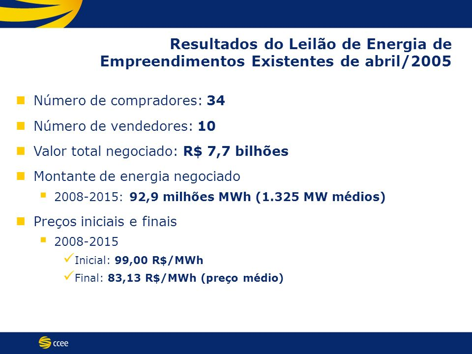 Resultados do Leilão de Energia de Empreendimentos Existentes de abril/2005