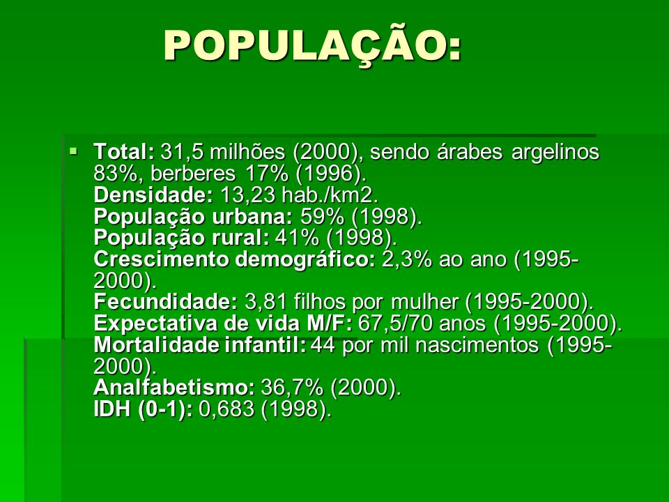 POPULAÇÃO: