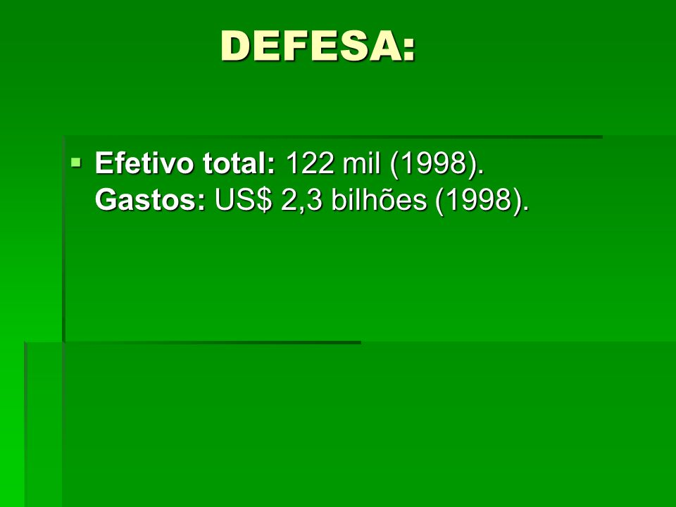 DEFESA: Efetivo total: 122 mil (1998). Gastos: US$ 2,3 bilhões (1998).