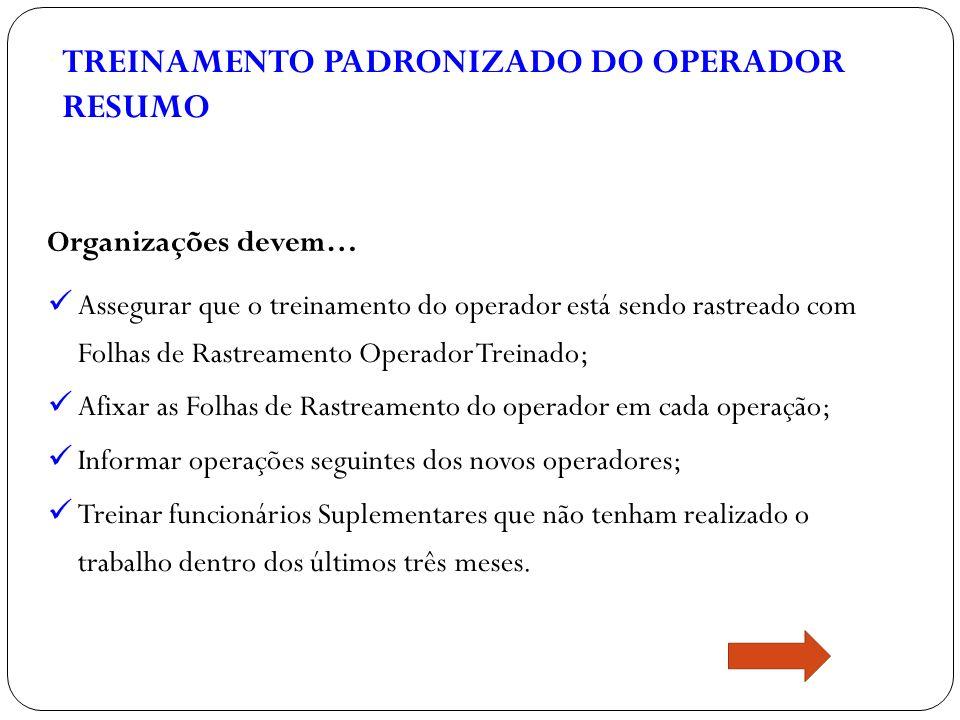 TREINAMENTO PADRONIZADO DO OPERADOR RESUMO