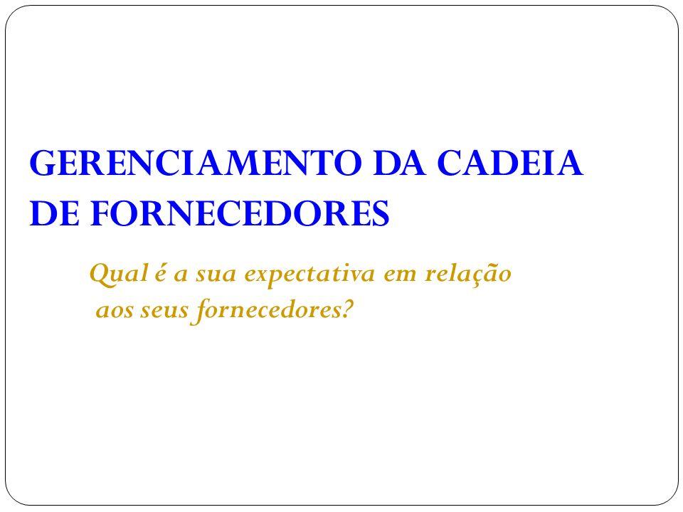 GERENCIAMENTO DA CADEIA DE FORNECEDORES
