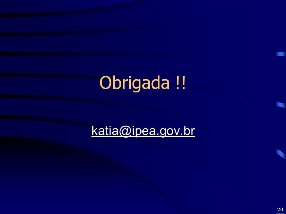 Obrigada !! katia@ipea.gov.br