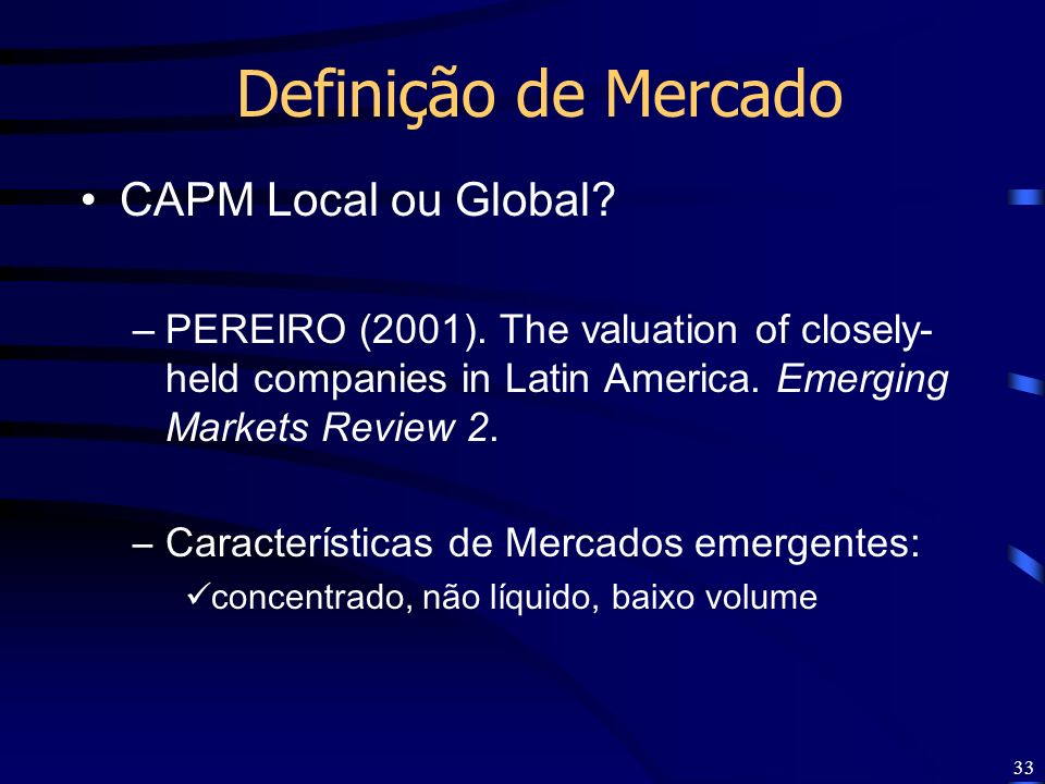 Definição de Mercado CAPM Local ou Global