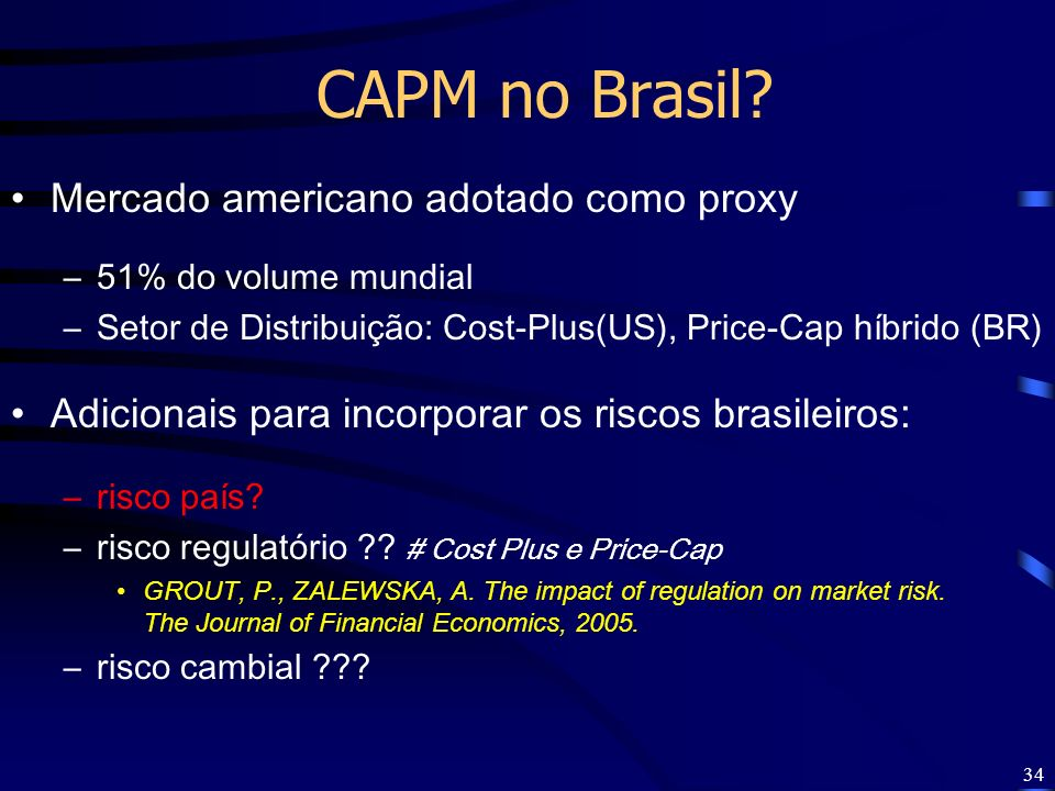 CAPM no Brasil Mercado americano adotado como proxy