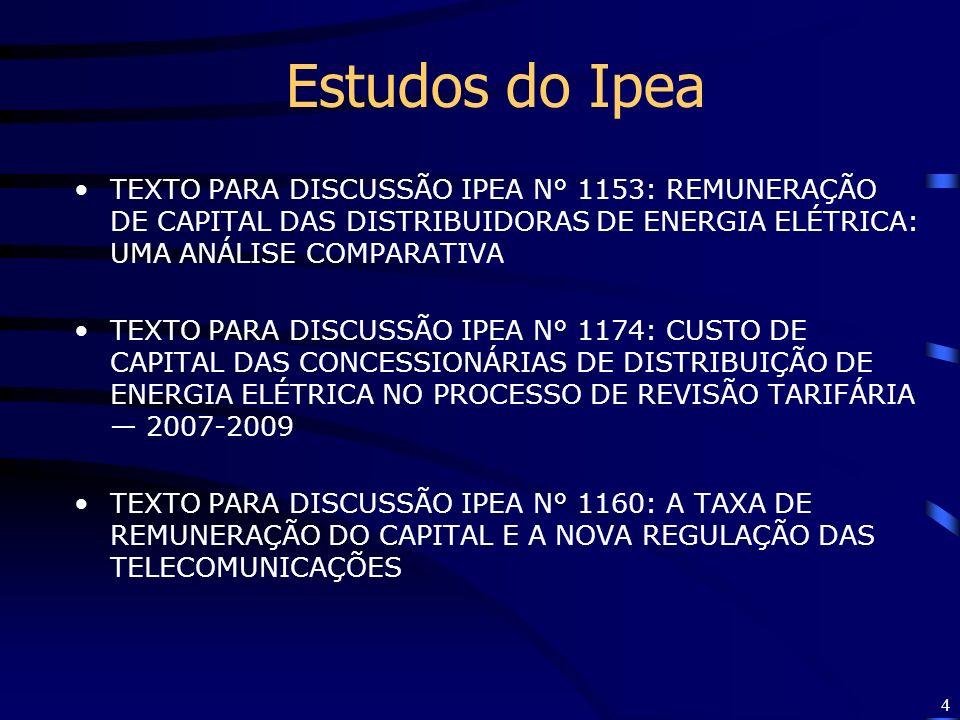 Estudos do Ipea TEXTO PARA DISCUSSÃO IPEA N° 1153: REMUNERAÇÃO DE CAPITAL DAS DISTRIBUIDORAS DE ENERGIA ELÉTRICA: UMA ANÁLISE COMPARATIVA.