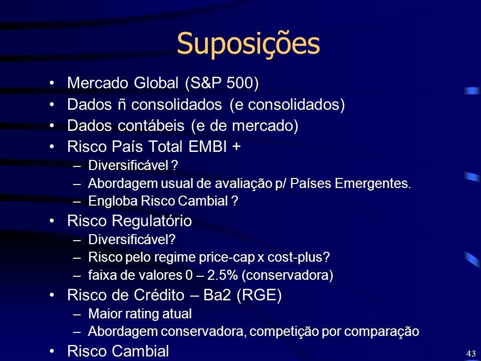 Suposições Mercado Global (S&P 500)