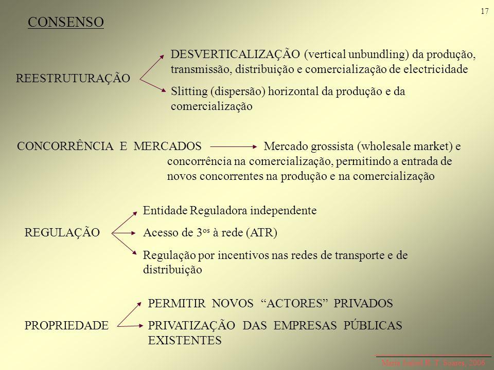 17 CONSENSO. DESVERTICALIZAÇÃO (vertical unbundling) da produção, transmissão, distribuição e comercialização de electricidade.