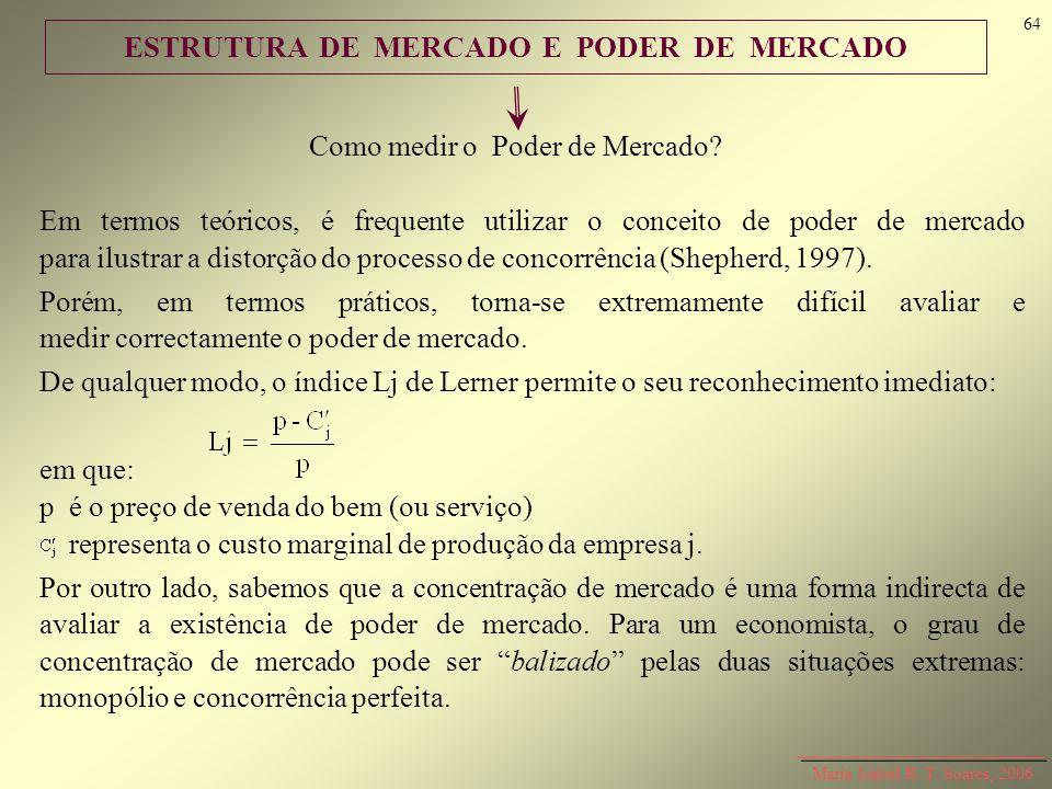 ESTRUTURA DE MERCADO E PODER DE MERCADO