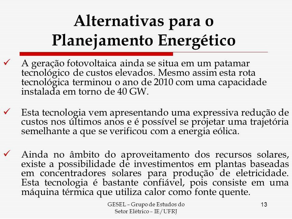 Alternativas para o Planejamento Energético