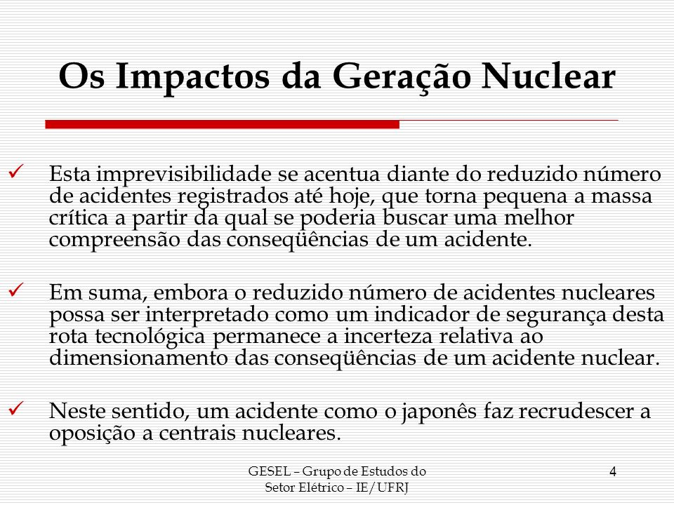 Os Impactos da Geração Nuclear