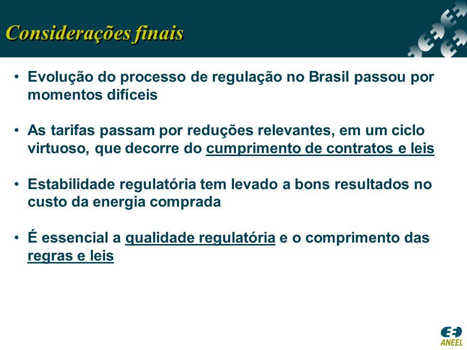 Considerações finais Evolução do processo de regulação no Brasil passou por momentos difíceis.