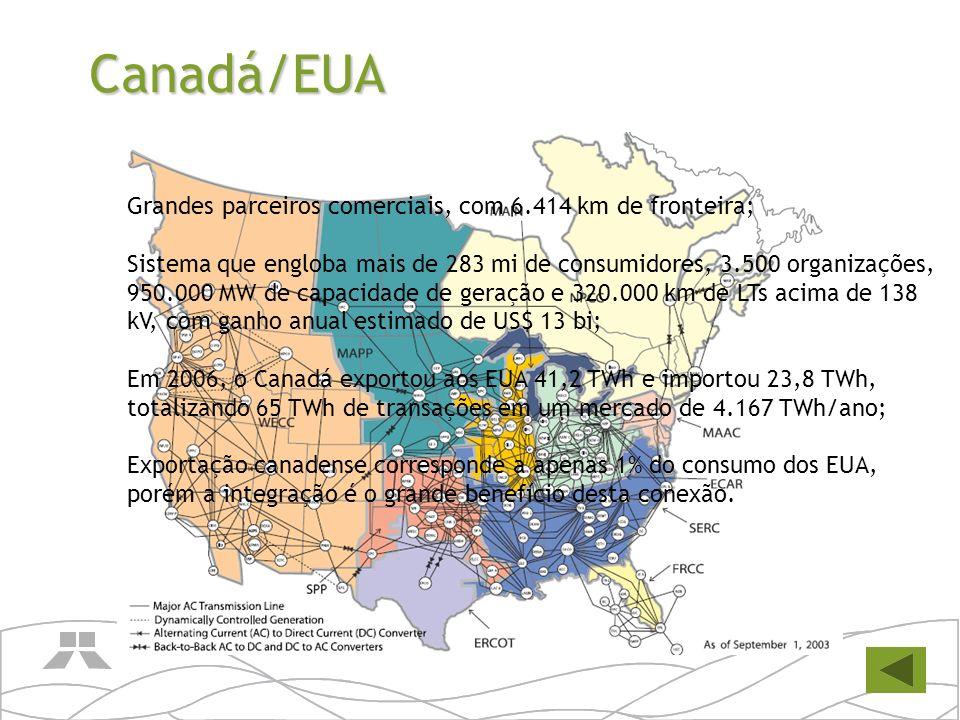 Canadá/EUA Grandes parceiros comerciais, com 6.414 km de fronteira;