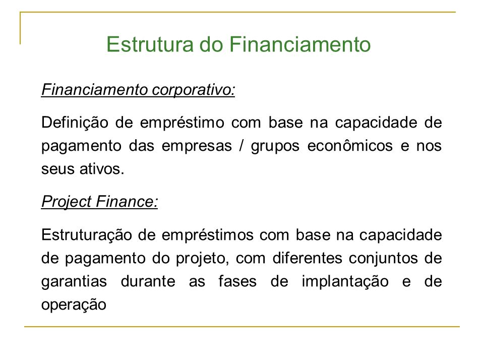 Estrutura do Financiamento